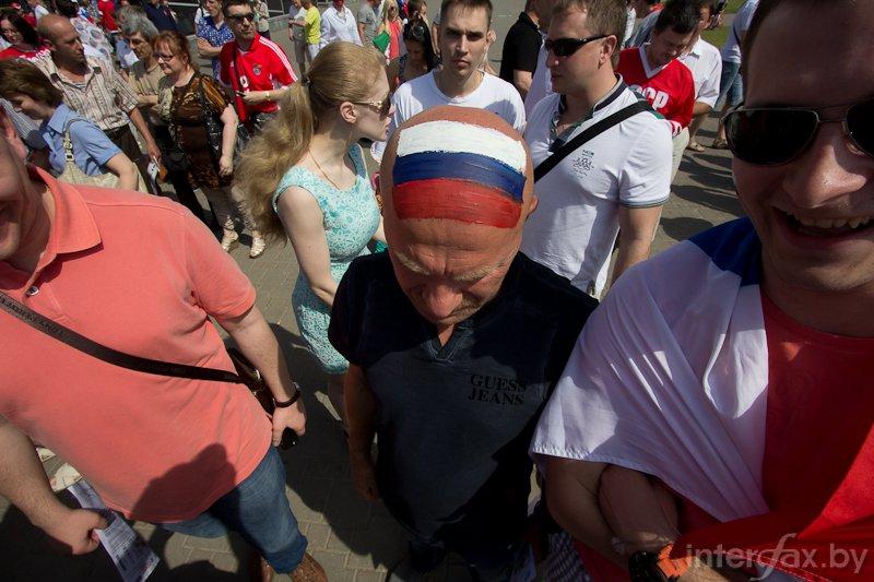 Bold fan of teh Russian ice hockey team