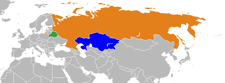 Russia, Belarus, Kazakhstan on map