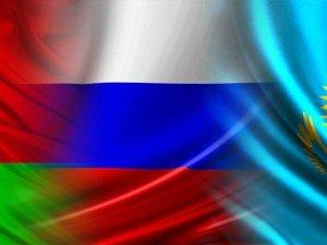 Belarus, Russia, Kazakhstan flags