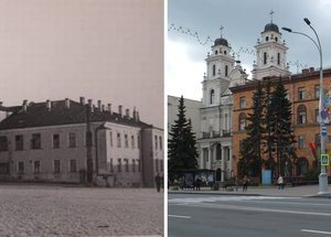 Then and now photos of the Catholic Cathedral of the Virgin Mary showing the original location of the Jesuit College clock tower.