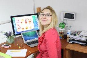 Margarita Malyshchyk at her desk. Photo via Blue Sky Talent Company