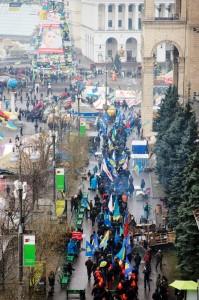 Euromaidan protests in Kyiv, January 2014. Photo by Michael E via Wikimedia Commons