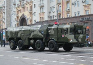 Iskander missile launcher in the rehearsal to the 2010 Moscow Victory Day parade. Photo by Alex Beltyukov via Wikimedia Commons