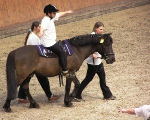 Therapeutic horseback riding show at Cisarsky Ostrov, Prague, Czech Republic. Hippotherapy is used to treat people with physical or mental challenges. Photo by Karakal via Wikimedia Commons