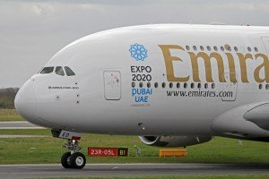 Expo 2020 bid by Dubai featured on Emirates Airways jet. Photo by Ken Fielding via Wikimedia Commons