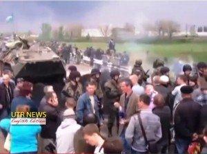 Protesters blocked Ukrainian army unit in April near Sloviansk near start of rebellion. Photo by Ukrainian Television and Radio via Wikimedia Commons