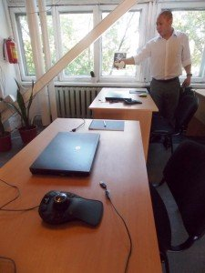 Ei Jungue in Dom Talanta's computer room. Photo by Ben M. Angel