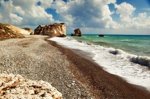 "Petra tou Romiou (""Rock of the Greek""), where according to Hesiod's Theogony the goddess Aphrodite emerged from the sea. Photo by Nino Verde via Wikimedia Commons"