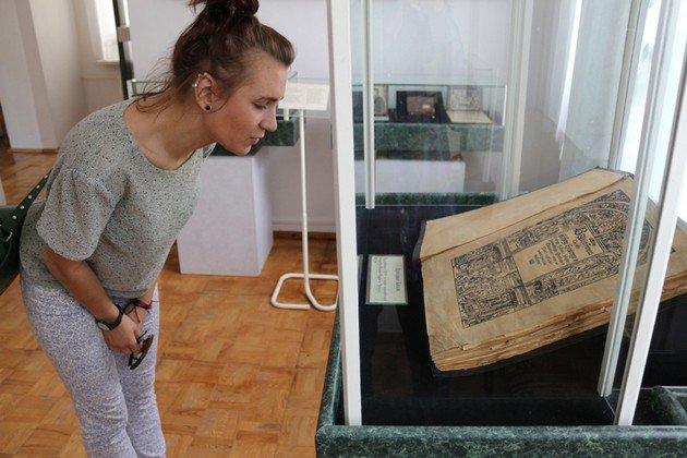 Old Bible replica in History of Brest museum