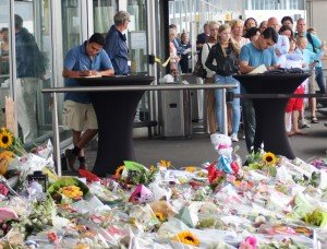 Mourners at Amsterdam's Schiphol Airport pay respect to victims of MH-17 flight shot down by surface-to-air missiles during Donbass fighting. Ukraine figures strongly as a security concern for the EU in coming talks. Photo by Pejman Akbarzadeh of the Persian Dutch Network via Wikimedia Commons