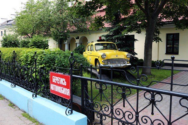 """An old """"Moskvich"""" car near History of Brest museum"""