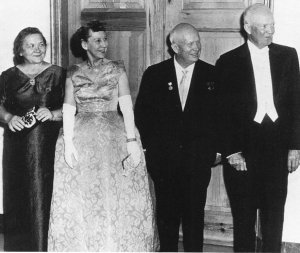 Nikita Khrushchev (second from the right) meeting with President Dwight Eisenhower (right) during his 1959 US visit. One focus of that visit was to learn about how US agriculture schools operate in order to improve Soviet agricultural schools, such as the one he started in Minsk. Photo via Wikimedia Commons