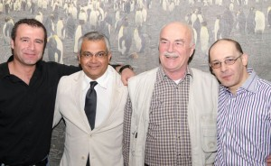 Puneet Shrivastava (second from left), co-ambassador, posing in front of penguin mural with Taner Temel (husband of senior co-ambassador Gabriella, left), Tom van Kemenade, and Nick Balidakis (both to the right). Photo by Gabriella Temel