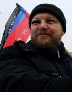 Andrei Purgin, who represented the Donetsk rebel group in today's talks, as a separatist protester. Photo via Vkontakte