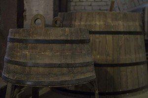 Old-fashioned barrels for storing beer