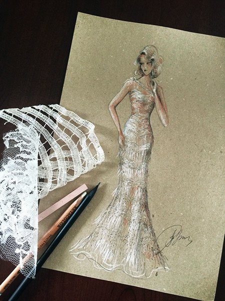 The draft of Lidia Baich's dress