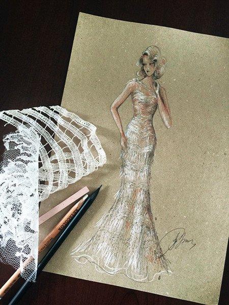 The draft of Lidia Baich's dress
