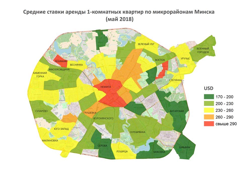 Price map for 1- room apartments in Minsk