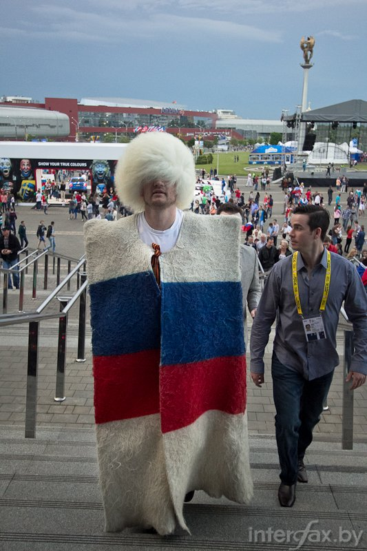 A Russian cossack supports his team