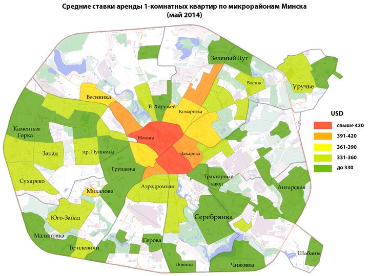 Prices of 1-room apartments in Minsk for rent - May 2014