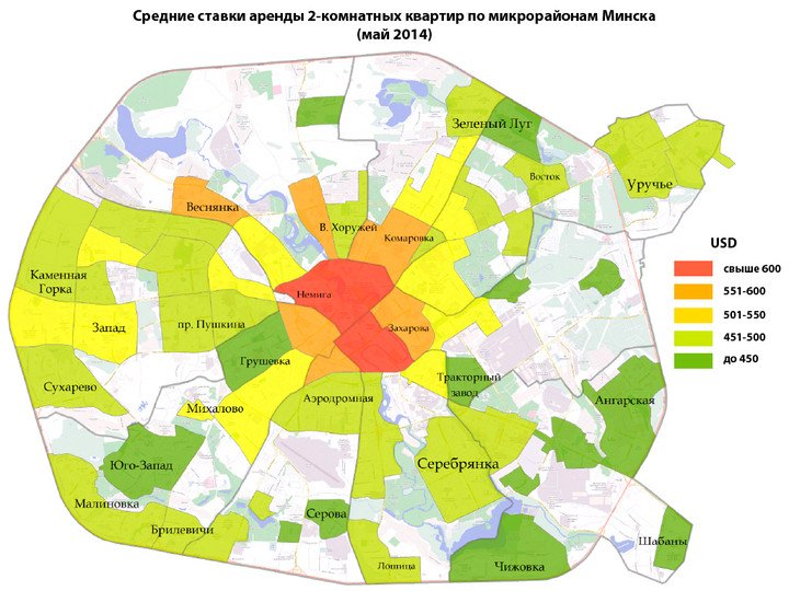 Prices of 2-room apartments in Minsk for rent - May 2014