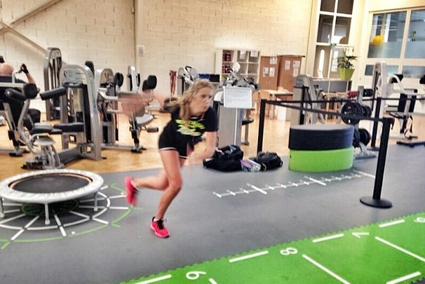 Victoria Azarenka in a gym