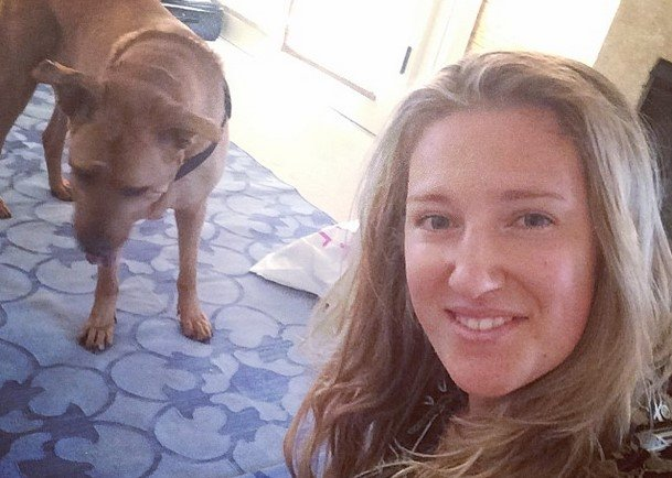 Victoria Azarenka with her dog