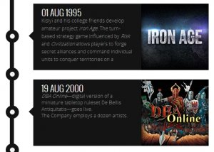 Screenshot of the timeline on the Wargaming website, covering the first two notable ventures pursued by Kislyi's company. Photo via Wargaming.net