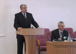 Nikolai Kazarovets speaking during an engagement while serving as BSATU rector. Photo via BSATU website