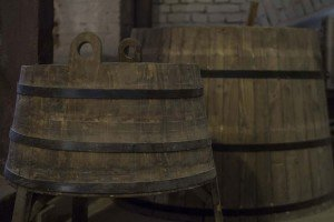 Old-fashioned barrels for storing beer